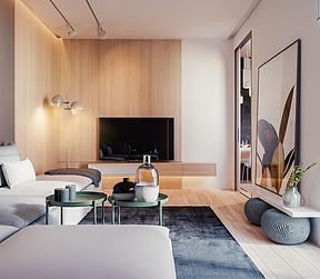 解放碑万豪公寓+现代装修风格+客厅