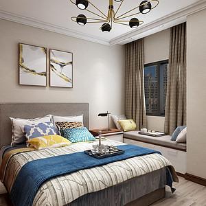 中海广场-新中式风格-卧室效果图