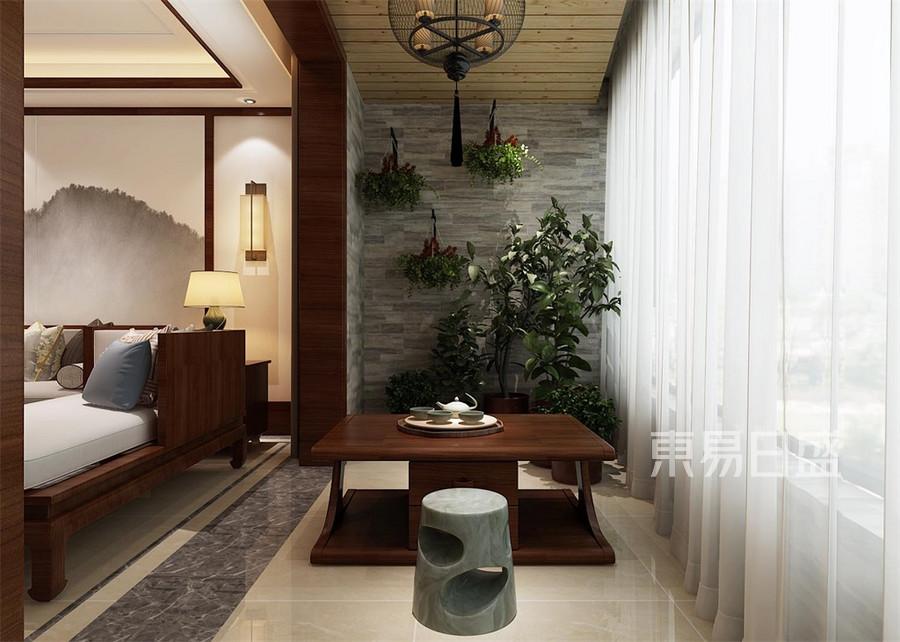 三居室-新中式-客厅阳台-效果图