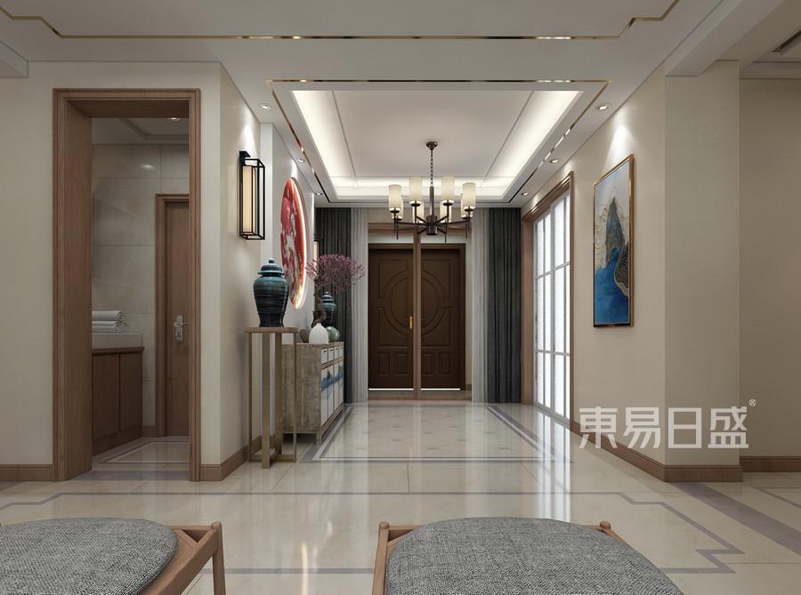 普通住宅-新中式-效果图-门厅 门厅设计宽敞、大气, 入户第一视觉感受的浑厚的中式韵味