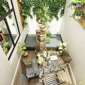 阳台效果图茗茶区,放上休闲椅
