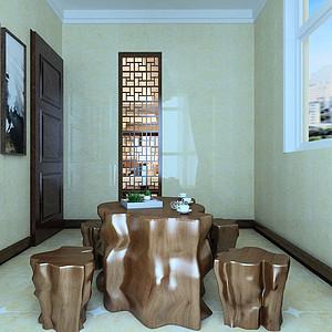 新中式风格阳台休闲茶室