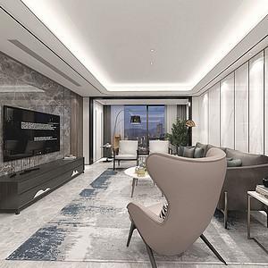 城南一号185㎡四居室现代简约高级灰风格