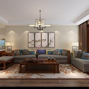 新中式-客厅沙发背景墙
