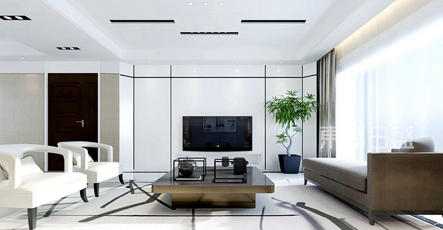 海珀兰轩现代简约风格客厅效果图_2018装修案例图片