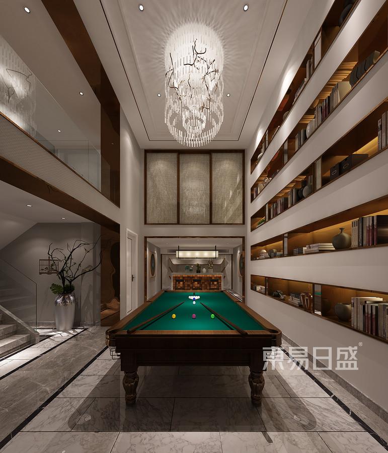 万邦样板房新中式风格台球室效果图