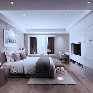 华侨城现代风格卧室装修效果图