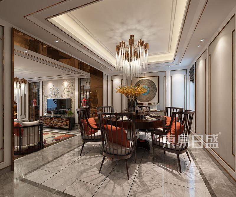 万邦样板房新中式风格餐厅效果图