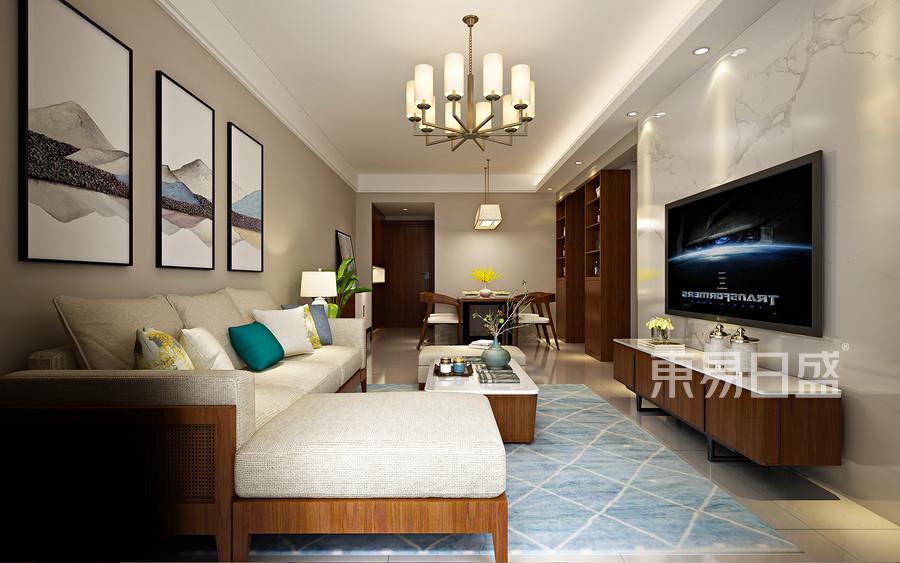 宛如泼墨山水般奔放的客厅电视墙石材,如画轴般的收纳图腾门扇,将纹理的大气度摊平于空间的视觉主景中