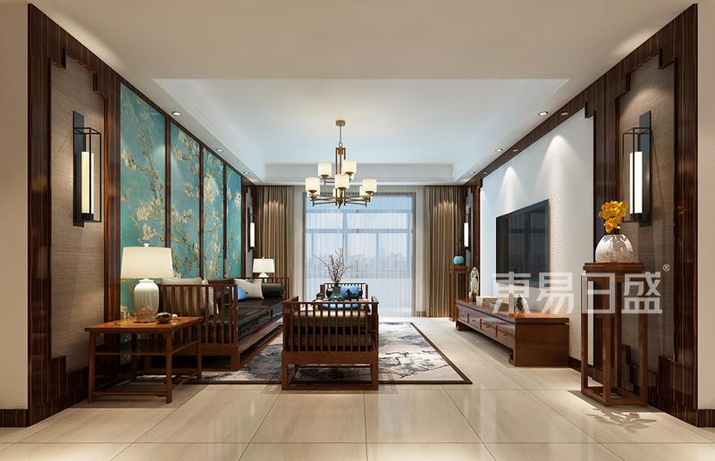 客厅墙面壁纸和木饰面装饰效果图_装修效果图大全2018