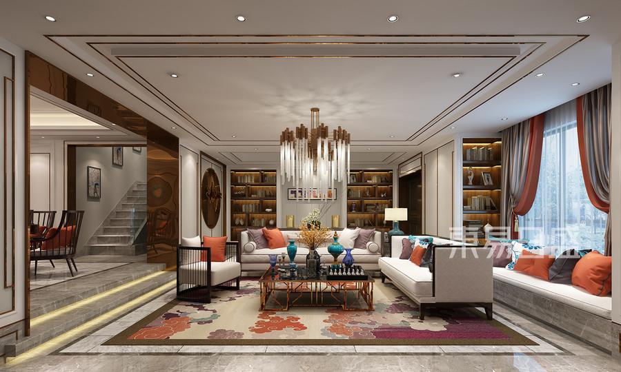万邦样板房新中式风格客厅效果图