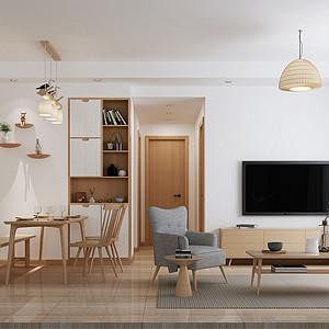 南城金色华庭装修案例-88㎡日式无印良品三房二厅装修效果图