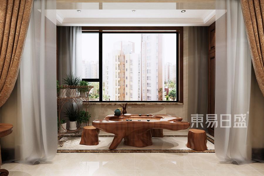 三居室-欧式-客厅阳台-效果图