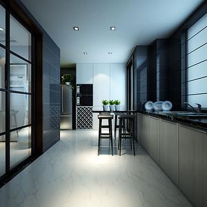 厨房黑白灰搭配使整体空间简约而不简单