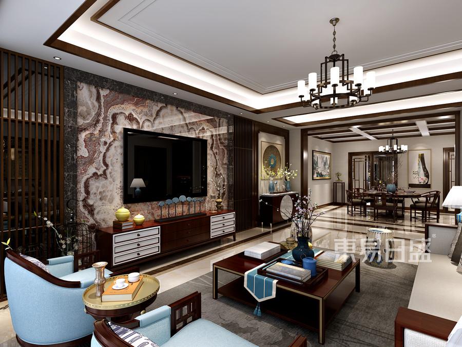 客厅电视墙石材 护墙板的设计效果图
