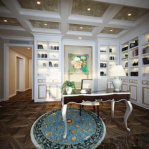 书房方形木地板拼花与顶相呼应