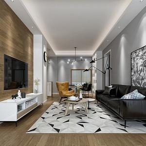 华润城 现代中式风格装修效果图 80平米 两居室装饰设计