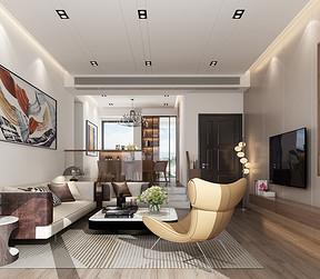 四居室-现代简约-效果图-客厅