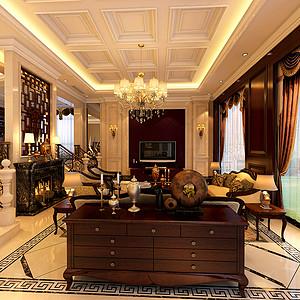 欧式与美式混搭风格客厅