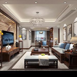 望牛墩天诚时代广场家装案例-128㎡新中式三房二厅装修效果图