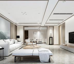金沙泊岸新中式风格客厅装修效果图