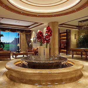 新世界名铸湾畔570平美式客厅