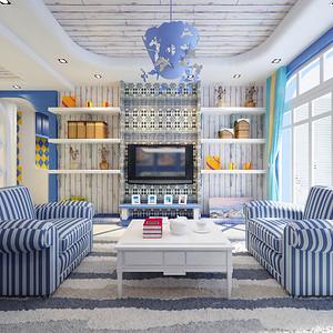 昆明香水小镇85平米三居室地中海风格装修效果图