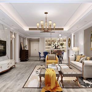广州富力爱丁堡公寓现代美式189㎡装修效果图