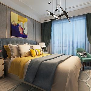 次卧墙面采用素色壁纸简单大气