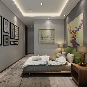卧室采用现代时尚的装饰画装饰。