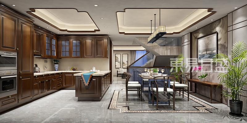 龙湫湾新中式风格厨房_新中式效果图大全2018图片