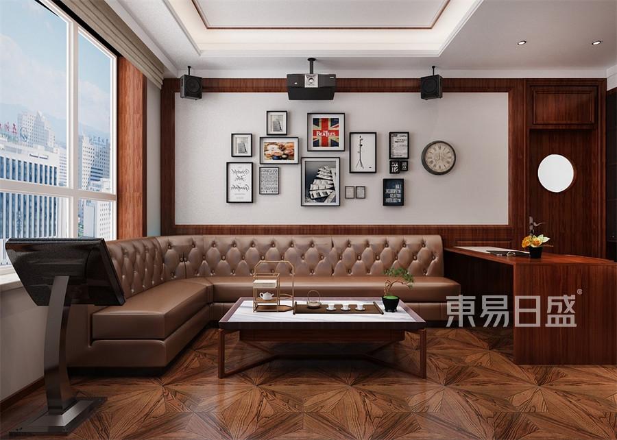 别墅-新中式-书房兼影音室-效果图