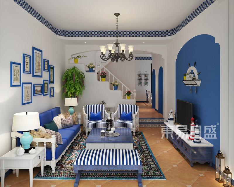 地中海风格客餐厅装修设计图片