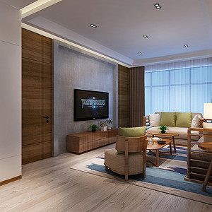 客厅实木与亚麻布材质自然搭配的家具