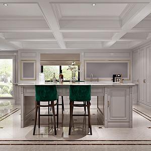 西厨简美的家具木作与大理石搭配,让典雅和高级感同时凝练表达,韵律生动,赋予空间独特的魅力。