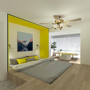 中直公寓 美式混搭 次卧效果图