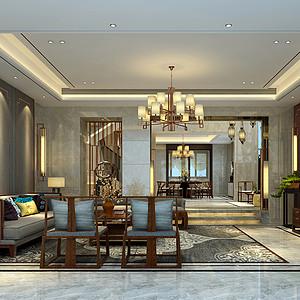金房三径400㎡别墅新中式风格装修效果图