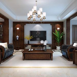 南海玫瑰园 新中式风格客厅装修效果图