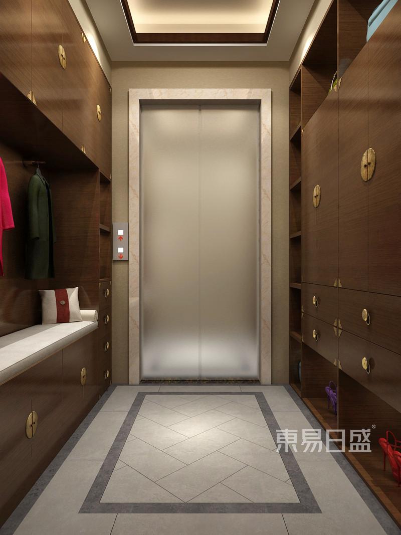 金隅乐府新中式风格电梯间装修效果图