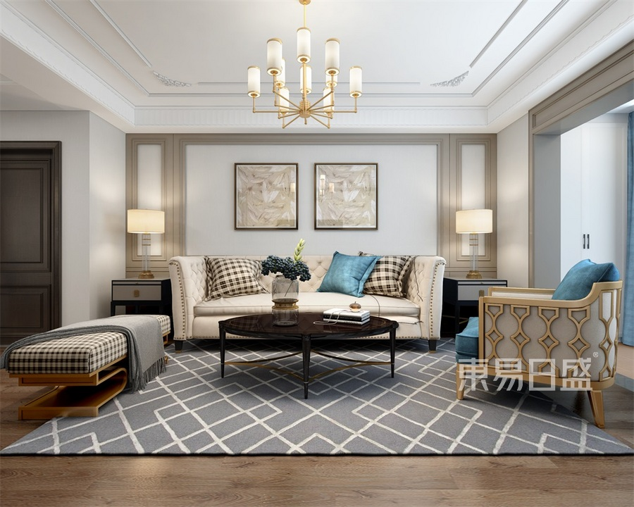 中车国际三室两厅美式客厅沙发背景墙装修效果图