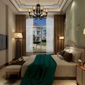碧桂园新中式风格卧室装修案例效果图