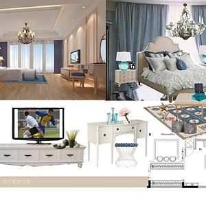 一楼卧室效果图-地中海式