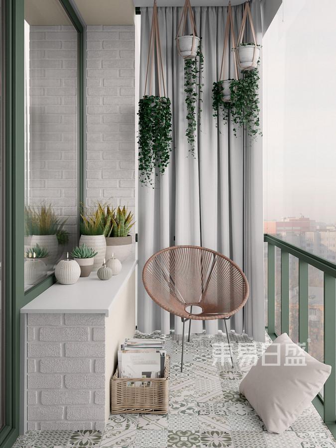 170㎡四居 北欧风格 阳台装修效果图