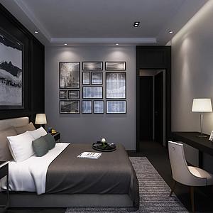 卧室已完美的黑白灰搭配
