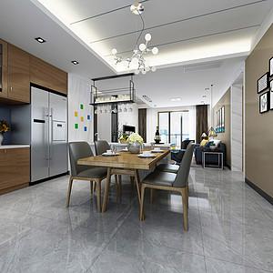 鼎峰尚境三房现代简约餐厅装修效果图