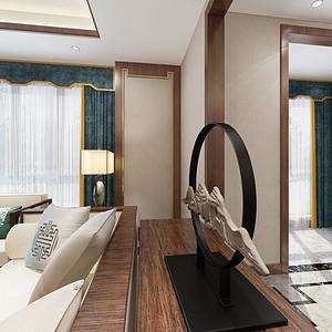 弘阳上园新中式客厅装修效果图
