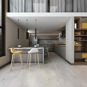 天汇广场现代简约风格厨房装修效果图