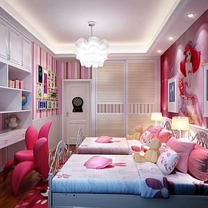 135㎡三居室现代简约风格儿童房效果