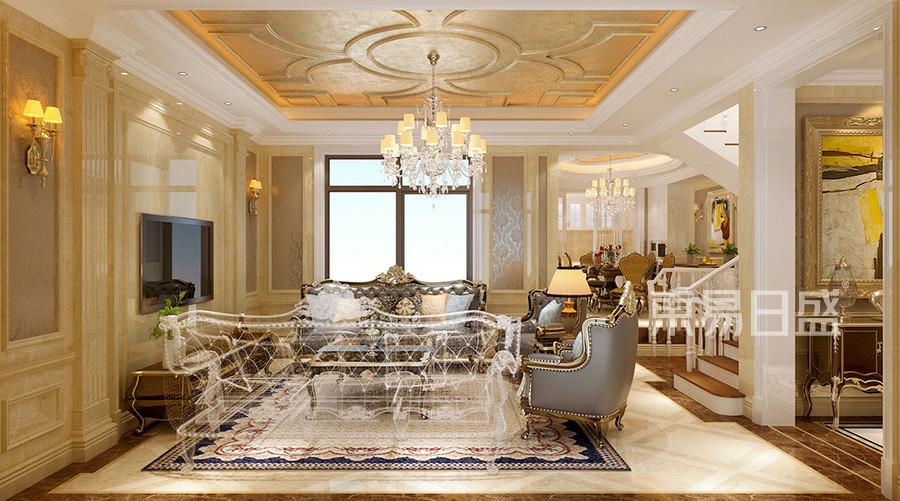 別墅-新古典設計案例-客廳裝修效果圖