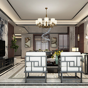 现代新中式风格客厅